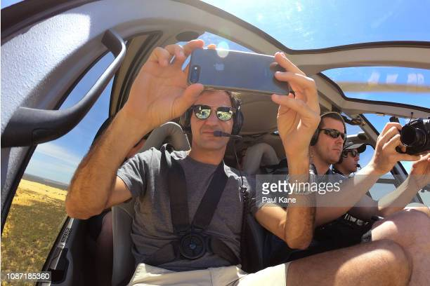 Roger Federer takes a selfie in the helicopter onroute to the Pinnacles Desert ahead of the 2019 Hopman Cup on December 27 2018 in Cervantes Australia