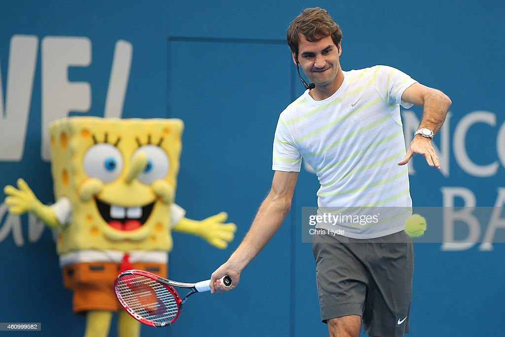 Roger Federer takes part in the Pat Rafter Arena Spectacular during day one of the 2015 Brisbane International at Pat Rafter Arena on January 4, 2015 in Brisbane, Australia.