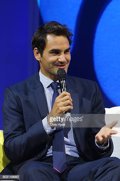 Roger Federer talks onstage during the Summer Nights player party at Brisbane City Hall ahead of the 2016 Brisbane International on January 2 2016 in...