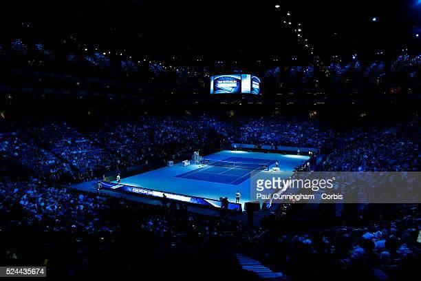 Roger Federer vs Novak Djokovic during the Singles Final of the 2015 Barclays ATP World Tour Finals O2 Arena London England 22 November 2015 Image by...
