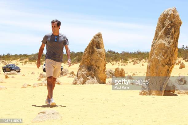 Roger Federer walks thru the Pinnacles Desert to greet media ahead of the 2019 Hopman Cup on December 27 2018 in Cervantes Australia