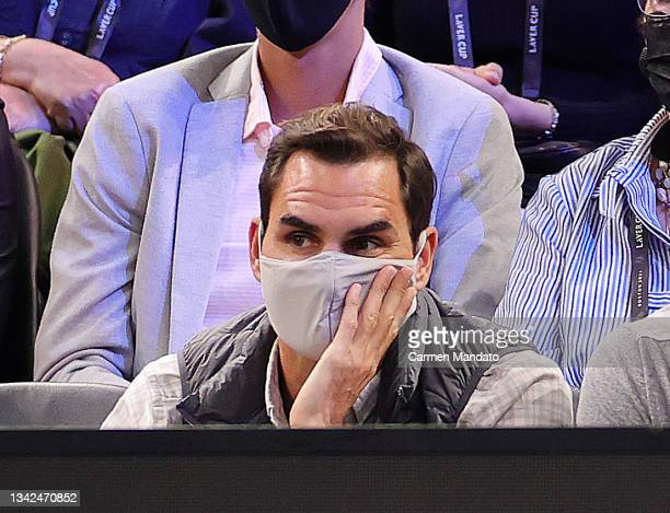Roger Federer watches the action on the fifth match during Day 2 of the 2021 Laver Cup at TD Garden on September 25, 2021 in Boston, Massachusetts.