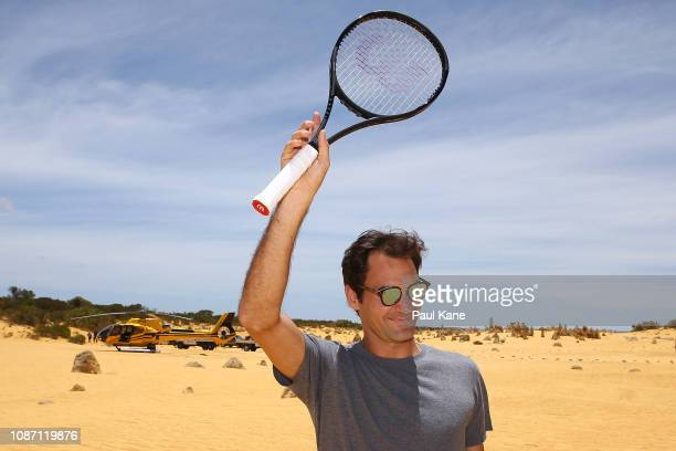 Roger Federer waves farewell well wishers at the Pinnacles Desert ahead of the 2019 Hopman Cup on December 27 2018 in Cervantes Australia