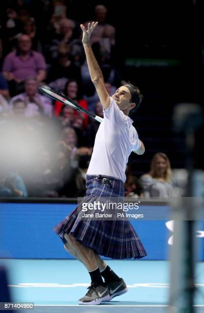 Roger Federer wears a kilt as he plays against Andy Murray in a singles match during the Andy Murray Live Event at the SSE Hydro Glasgow