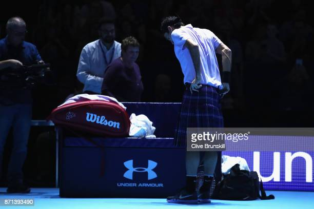 Roger Federer wears a kilt during his match against Andy Murray during Andy Murray Live at The Hydro on November 7 2017 in Glasgow Scotland
