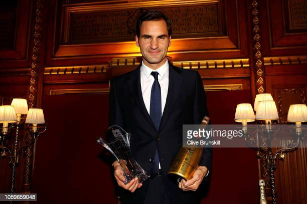 Roger Federer winner of ATPWorldTourcom Fans' Favourite Award for the 16th consecutive year at the Nitto ATP Finals Official Launch presented by Moet...