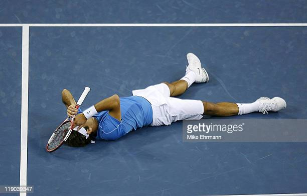 Roger Federer wins the mens final against Andy Roddick at the 2006 US Open at the USTA National Tennis Center in Flushing Queens NY on September 9...