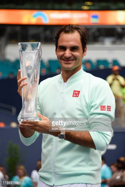 Roger Federer wins the mens final match at the Miami Open on March 31 2019 at Hard Rock Stadium in Miami Gardens FL
