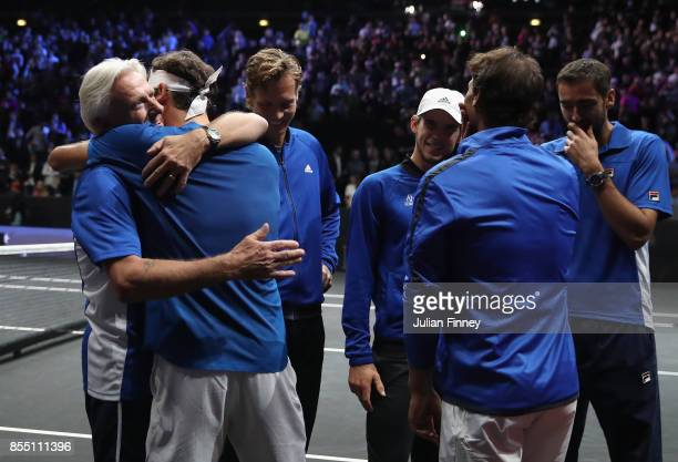 Roger Federer with members of Team Europe celebrate after his win over Nick Kyrgios of Team World to land the Laver Cup during the final day of the...