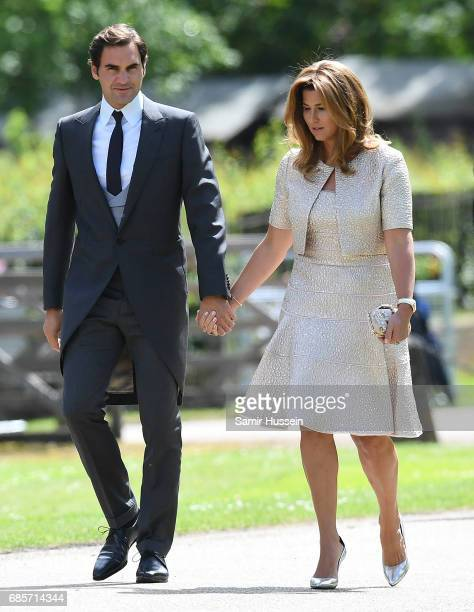 Roger Federer with wife Mirka Federerattends the wedding of Pippa Middleton and James Matthews at St Mark's Church on May 20 2017 in Englefield Green...