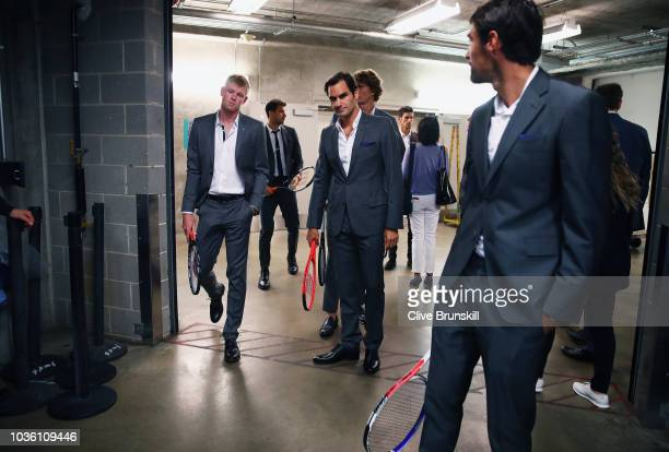 Roger FedererKyle Edmund Alexander Zverev and Jeremy Chardy of Team Europe wait backstage to be unveiled at the official welcome ceremony prior to...