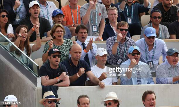 Roger Federer's box with coaches Severin Luthi Ivan Ljubicic Pierre Paganini agent Tony Godsick second row MaryJo Fernandez his mother Lynette...