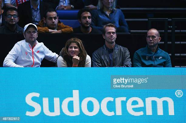 Roger Federer's wife Mirka and coach Stefan Edberg watch his men's singles match against Tomas Berdych of Czech Republic during day one of the...