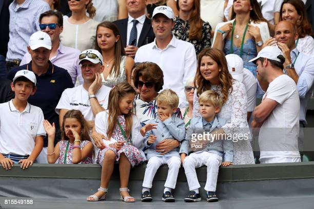 Roger Federer's wife Mirka and family celebrate his victory after the Gentlemen's Singles final against Marin Cilic of Croatia on day thirteen of the...