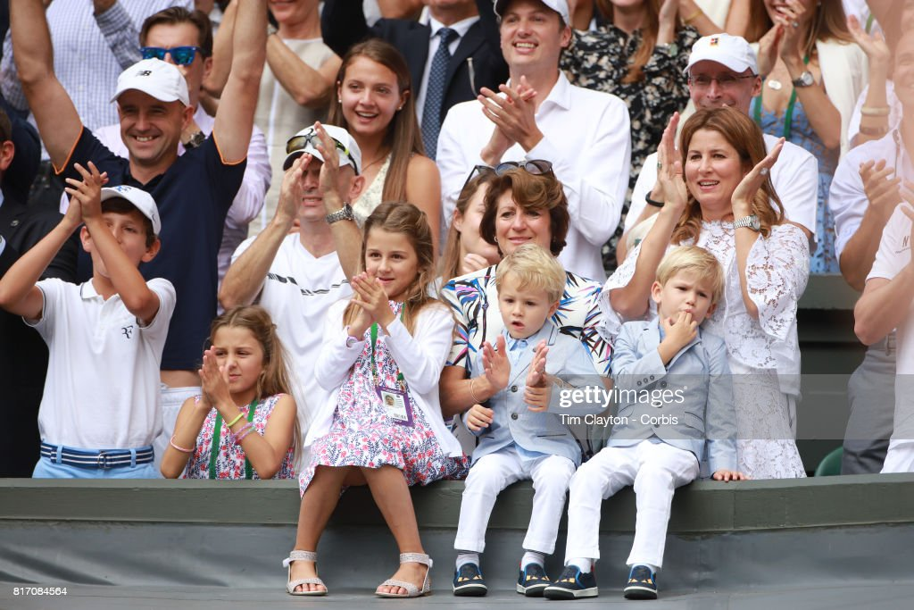 Roger Federer's wifeMirka Federerand theirfour children, identical twin daughtersMyla andCharlene, 7, and identical 3-year-old twinsonsLeoandLenny, cheer from the stands after the Gentlemen's Singles final won by Roger Federer during the Wimbledon Lawn Tennis Championships at the All England Lawn Tennis and Croquet Club at Wimbledon on July 16, 2017 in London, England.