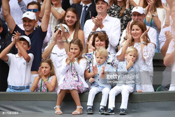 Roger Federer's wife Mirka Federer and their four children, identical twin daughters Myla and Charlene and identical 3-year-old...