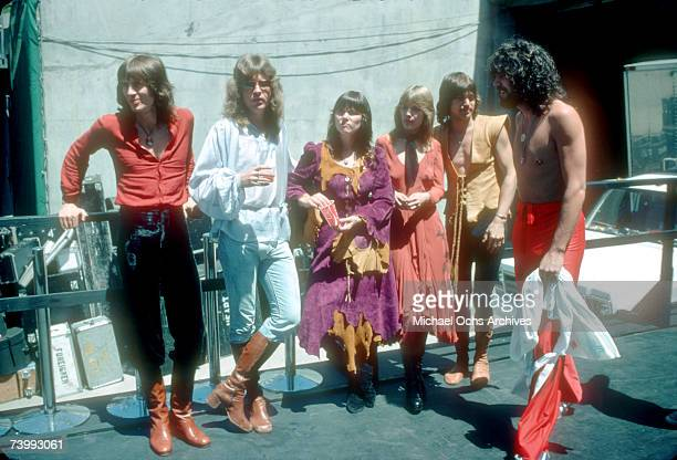 Roger Fisher Howard Leese Ann Wilson Nancy Wilson Steve Fossen and Michael Derosier of the rock band 'Heart' pose for a portrait in May 1977 in Los...