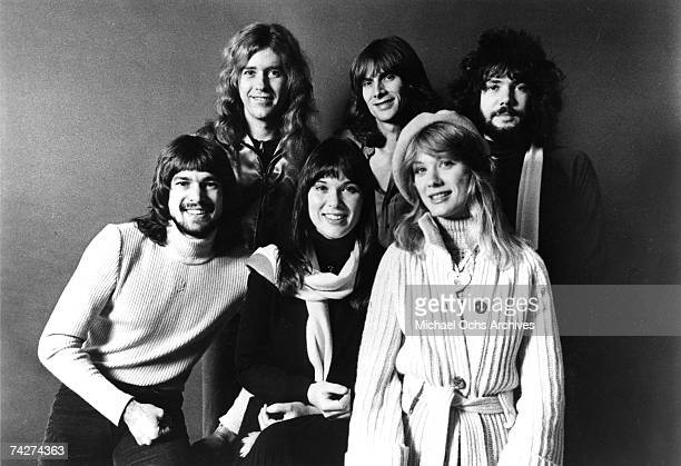 "Roger Fisher, Howard Leese, Steve Fossen, Michael Derosier, Nancy Wilson, Ann Wilson of the rock band ""Heart"" pose for a portrait in circa 1977."
