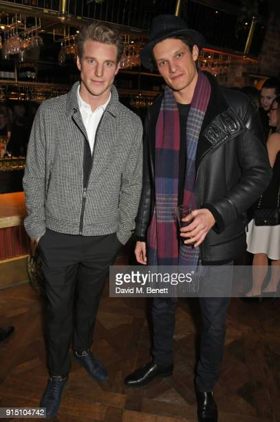 Roger Frampton and Danny Beauchamp attend the InStyle EE Rising Star Party at Granary Square on February 6 2018 in London England