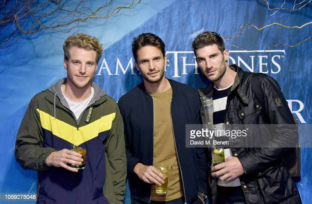Roger Frampton Ryan Barrett and guest attend the Johnnie Walker Frozen Forest popup in Shoreditch to celebrate the launch of the limitededition White...