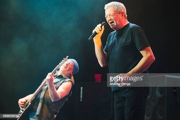 Roger Glover and Ian Gillan of Deep Purple perform on stage at The O2 Arena on December 3 2015 in London England