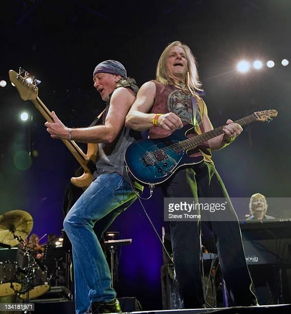 Roger Glover and Steve Morse of Deep Purple perform on stage at LG Arena on November 27, 2011 in Birmingham, United Kingdom.