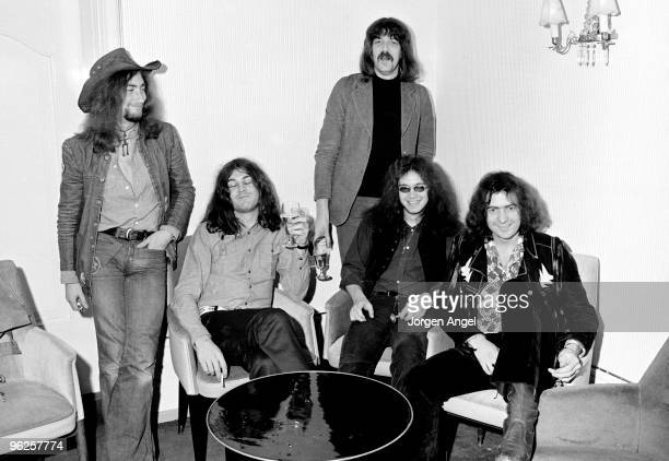 Roger Glover Ian Gillan Jon Lord Ian Paice and Ritchie Blackmore of Deep Purple pose for a group portrait on March 1st 1972 in Copenhagen Denmark