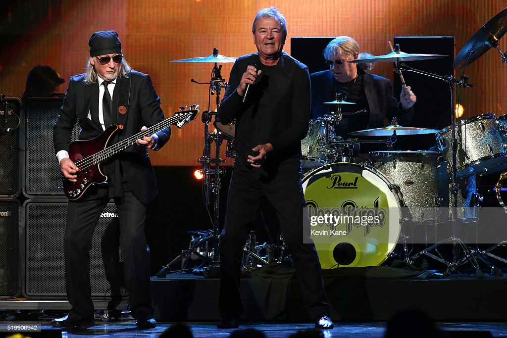 Roger Glover, Ian Gillian, and Ian Paice of Deep Purple perform onstage at the 31st Annual Rock And Roll Hall Of Fame Induction Ceremony at Barclays Center of Brooklyn on April 8, 2016 in New York City.