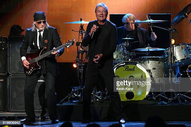 Roger Glover Ian Gillian and Ian Paice of Deep Purple perform onstage at the 31st Annual Rock And Roll Hall Of Fame Induction Ceremony at Barclays...