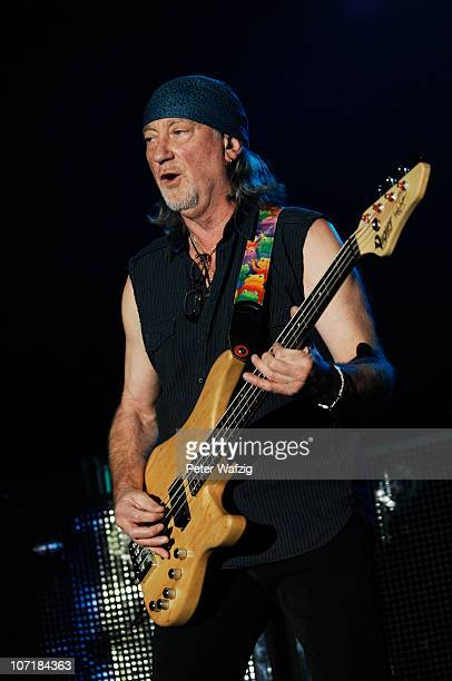 Roger Glover of Deep Purple performs on stage at the Grugahalle on November 28, 2010 in Essen, Germany.