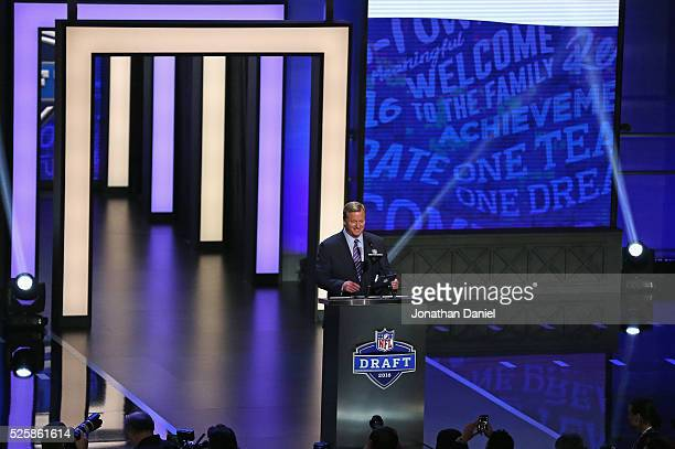 Roger Goodell announces a draft pick during the 2016 NFL Draft at the Auditorium Theater on April 28 2016 in Chicago Illinois