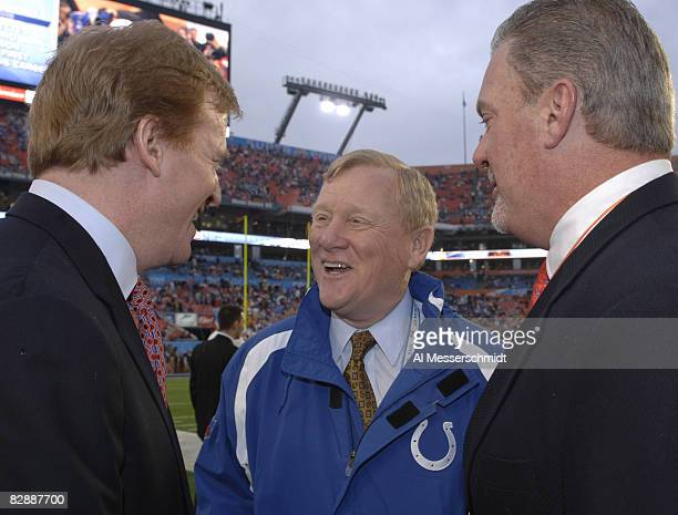 Roger Goodell Colts president Bill Polian and owner Jim Irsay before Super Bowl XLI between the Indianapolis Colts and Chicago Bears at Dolphin...