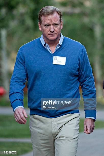 Roger Goodell commissioner of the National Football League arrives for a morning session during the Allen Co Media and Technology Conference in Sun...