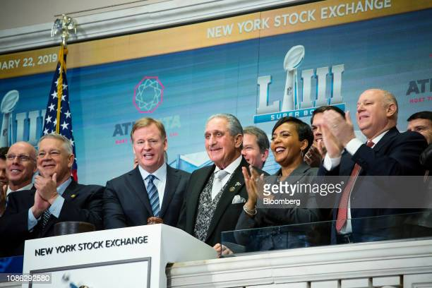 Roger Goodell commissioner of the National Football League center left Arthur Blank owner and chairman of AMB Group LLC center and Keisha Lance...
