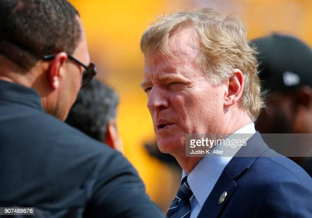 Roger Goodell in action before the game between the Pittsburgh Steelers and the Minnesota Vikings on September 17 2017 at Heinz Field in Pittsburgh...
