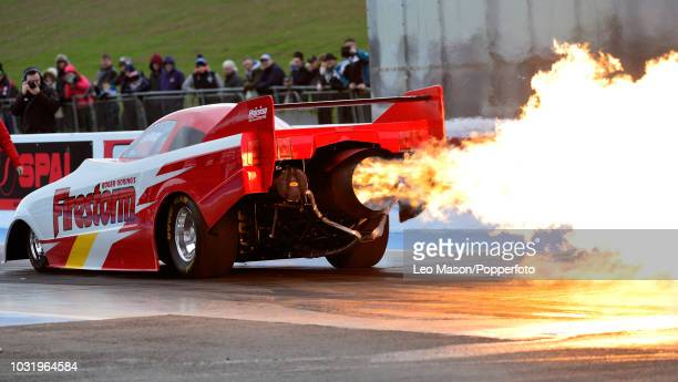 Roger Goring's Firestorm Jet Car burnout during The Festival of Power at Santa Pod Raceway on April 1 2018 in Northampton England