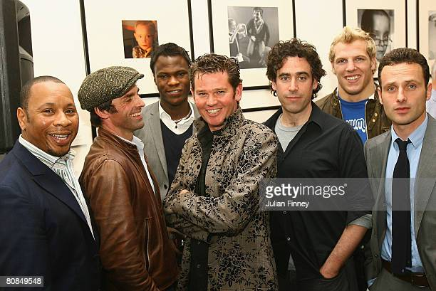 Roger Griffiths Jonathan Wrather Brian Belo Cambridge Jones Stephen Mangan James Haskell and Andrew Lincoln pose for a photo during the Home Time'...