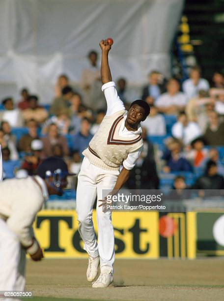 Roger Harper bowling for West Indies during the 4th Test match between England and West Indies at Old Trafford Manchester 28th July 1984