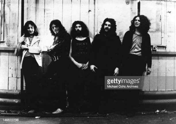 LR Roger Hodgson Frank Farrell Rick Davies Kevin Currie and Dave Winthrop of the rock band 'Supertramp' pose for a portrait in 1972