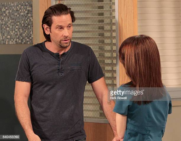 """Roger Howarth and Rebecca Herbst in a scene that airs the week of June 20, 2016 on Walt Disney Television via Getty Images's """"General Hospital."""" The..."""