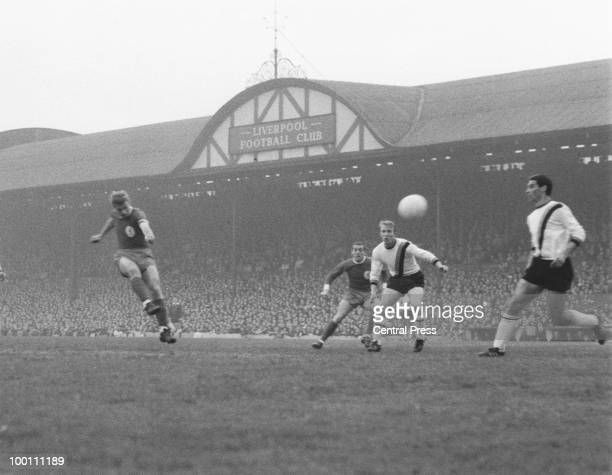 Roger Hunt of Liverpool scores his team's first goal during the European Cup semifinal first leg against InterMilan at Anfield 5th May 1965 Liverpool...