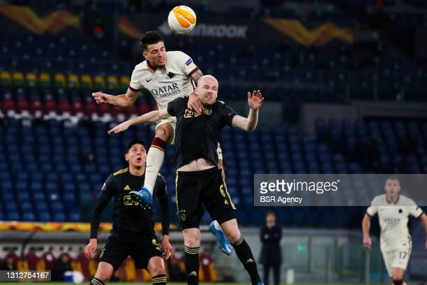 Roger Ibanez of AS Roma and Davy Klaassen of Ajax during the UEFA Europa League Quarter Final: Leg Two match between AS Roma and Ajax at Stadio...