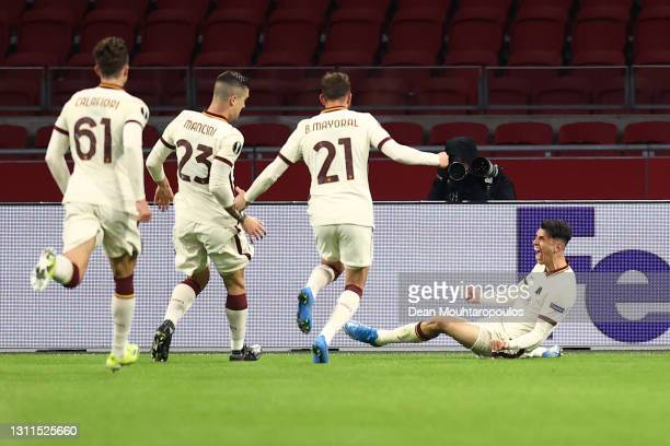 Roger Ibanez of A.S Roma celebrates with Riccardo Calafiori, Gianluca Mancini and Borja Mayoral after scoring their side's second goal during the...