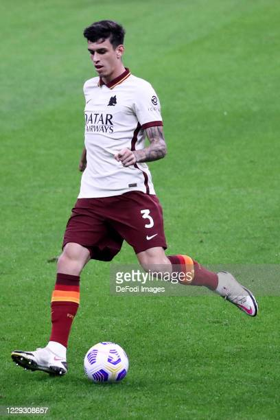 Roger Ibanez of AS Roma controls the ball during the Serie A match between AC Milan and AS Roma at Stadio Giuseppe Meazza on October 26 2020 in Milan...