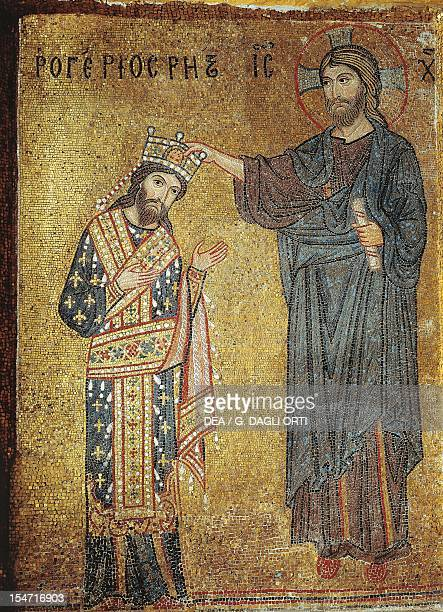 Roger II being crowned by Christ 12th century Byzantine mosaic Church of La Martorana Palermo Sicily Italy 12th century
