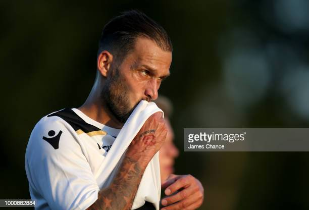 Roger Johnson of Bromley FC reacts during the preseason friendly match between Bromley and Crystal Palace on July 17 2018 at Hayes Lane in Bromley...