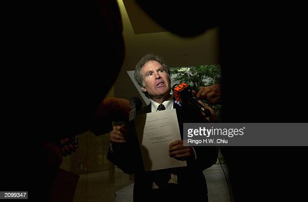 Roger Jon Diamond attorney for Max Factor heir Andrew Luster speaks to the news media at the Office of the Clerk after petitioning the California...