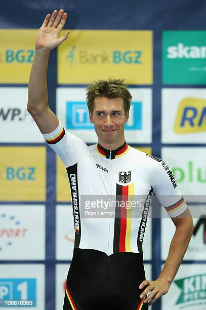 Roger Klluge of Germany stands on the podium after winning the Men's Omnium during day three of the European Elite Track Cycling Championships at the...