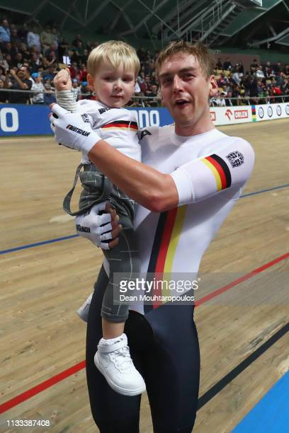 Roger Kluge and Theo Reinhardt of Germany celebrate winning the gold medal in the Men's Madison on day five of the UCI Track Cycling World...