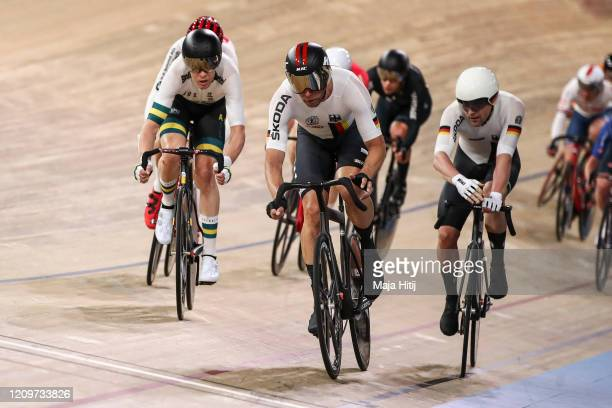 Roger Kluge and Theo Reinhardt of Germany compete at Men's Madison during day 5 of the UCI Track Cycling World Championships Berlin at Velodrom on...